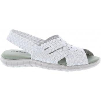 Adesso Sally White / Silver (E7) A5343 Womens Slingback Sandals