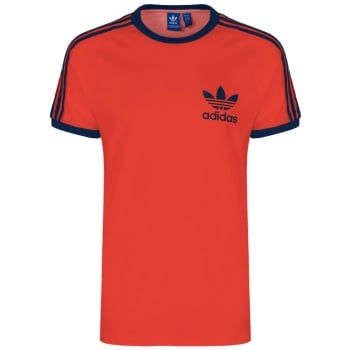Adidas 3 Strpies Retro Trefoil Tee Red (Z14) S18427 Mens Short Sleeve T-Shirts