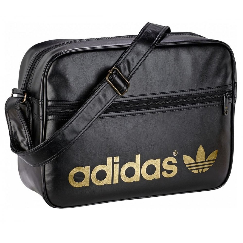 c7a80734ae Adidas AC Airiner Black   Metal Gold (B14) Mens Messenger Shoulder Bag. ‹