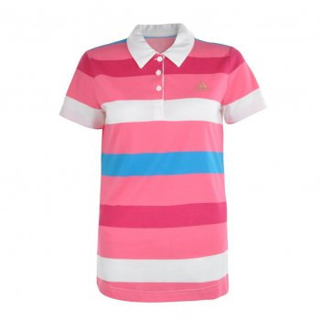 Adidas White / Sesopk / Solblu Stripe F95602 (B5) Ladies Polo Shirt