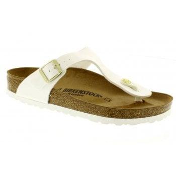 Birkenstock Gizeh (1005299) Birko-Flor Patent White (Z113) Womens Sandal