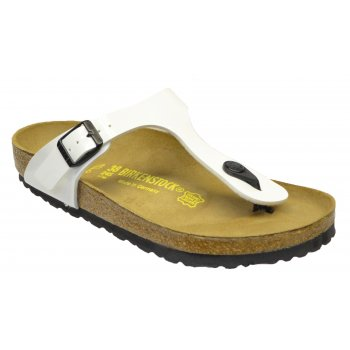 Birkenstock Gizeh (543761) Birko-Flor Patent Weib Lack / White (B5) Womens Sandal