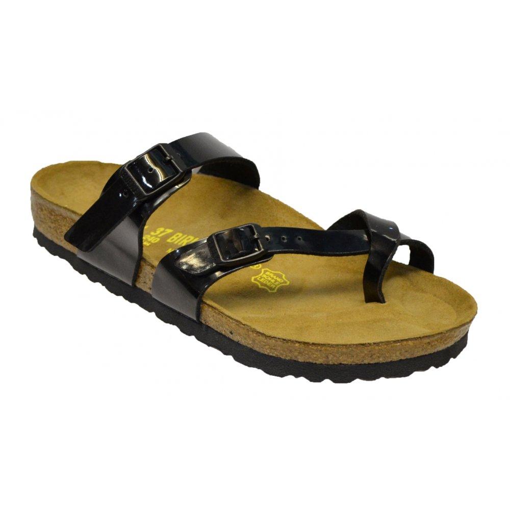 Black patent sandals uk - Birkenstock Mayari 071091 Birko Flor Black Patent N7 Womens Sandal