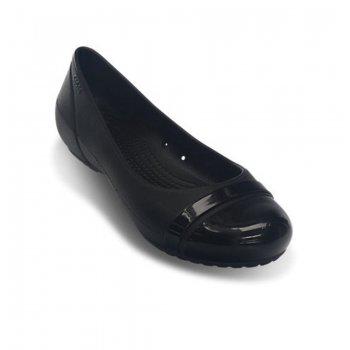 Crocs Cap Toe Black / Black (U1) 12300-060 Ladies Flat Shoes