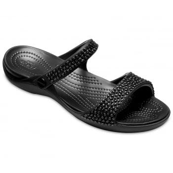 Crocs Cleo V Diamante Black / Black (Z3) 205102-060 Ladies Sandal