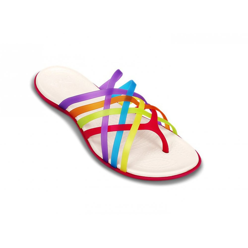 e00f93ad04ba8 Crocs Huarache Flat Multi   Geranium Relaxed Fit (B15) Womens Flip Flops