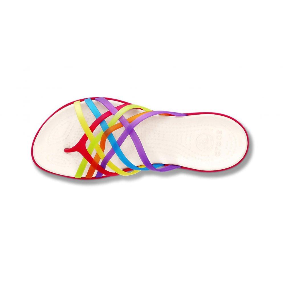 7b173775ccfa ... Crocs Huarache Flat Multi   Geranium Relaxed Fit (B15) Womens Flip Flops.  ‹