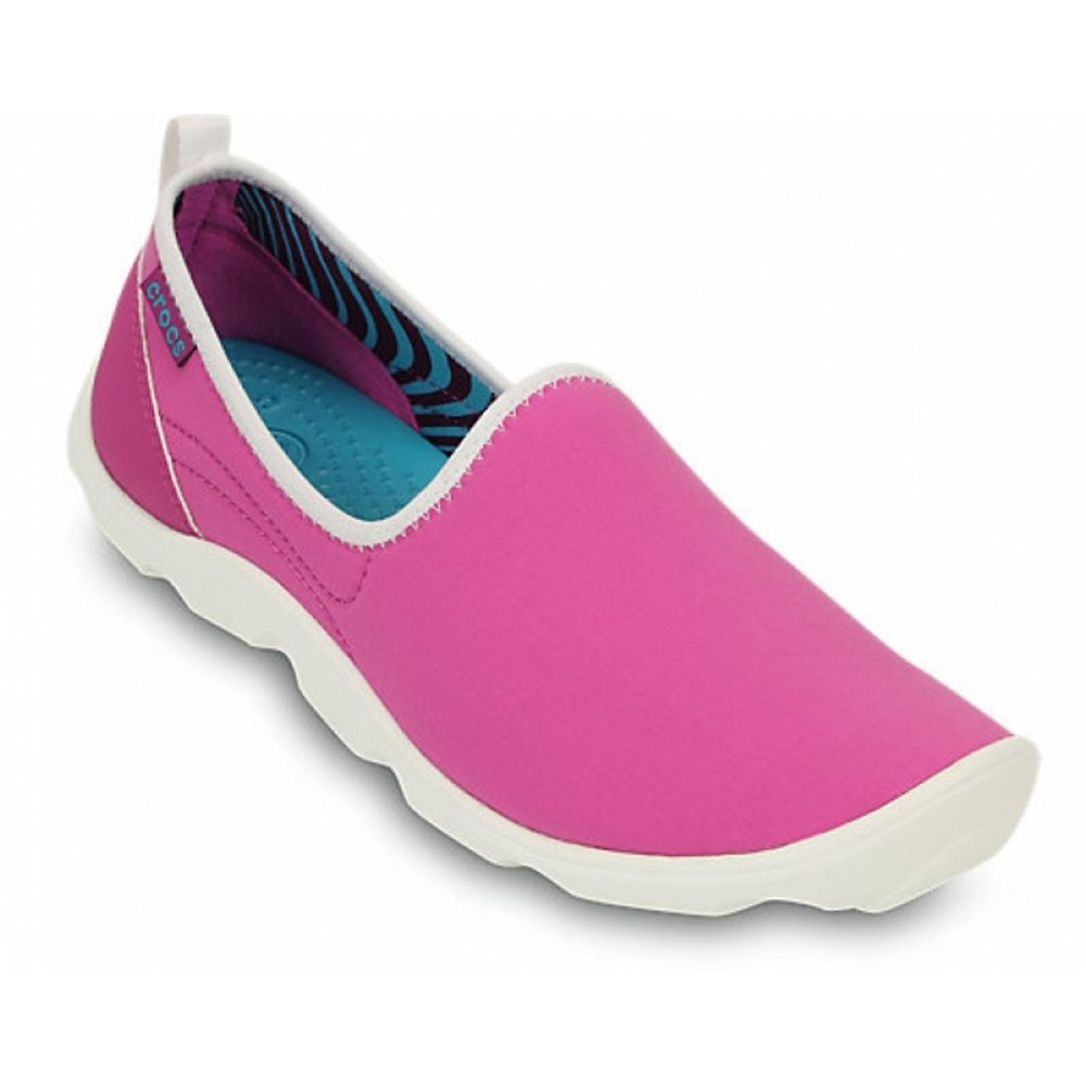 2ba53c17eb43 Crocs Duet Busy Day Skimmer Vibrant Violet   White (N45) 14698-5A9 Ladies  Trainers