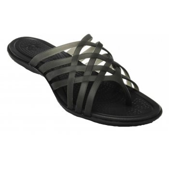 Crocs Huarache Flat Black / Black (U2)  14122-060 Ladies Flip Flops