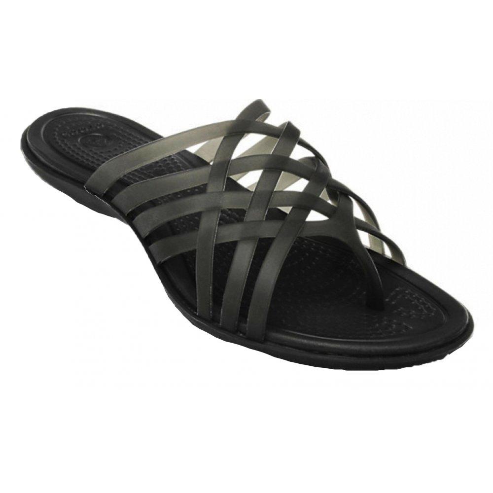9d7a7ec1b60d Crocs Crocs Huarache Flat Black   Black (U2) 14122-060 Ladies Flip ...