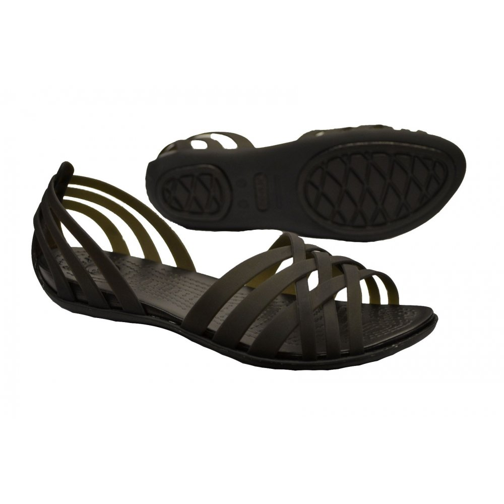 Womens crocs black huarache flat sandals