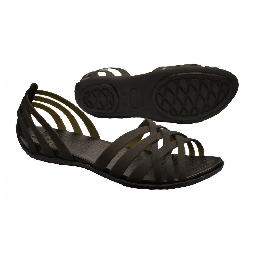 1e747602a Crocs Crocs Huarache Flat Black   Black (U3) Womens Sandal - Crocs ...