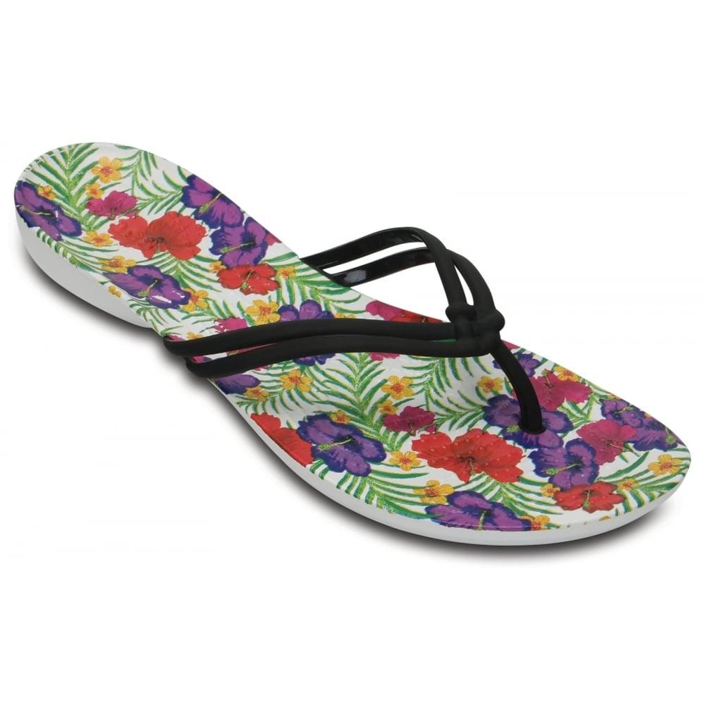 ae57ed1c2d64 Crocs Isabella Graphic Black   Floral (U3) 204196-0CV Womens Flips