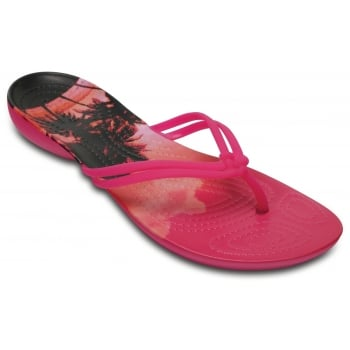 Crocs Isabella Graphic Candy Pink / Tropical (U1) 204196-6JS Womens Flips