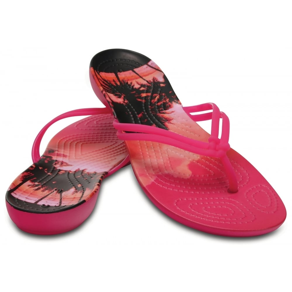 542ad0cf3548 ... Crocs Isabella Graphic Candy Pink   Tropical (U1) 204196-6JS Womens  Flips ...