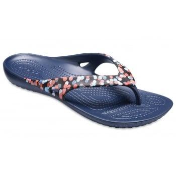 Crocs Kadee II Graphic Dots / Navy (UX9) 204231-93D Womens Flip Flop