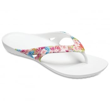 Crocs Kadee II Graphic Tropical Floral / White  (UX7) 204231-95X Womens Flip Flop