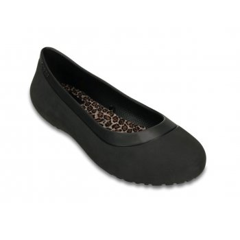 Crocs Mammoth Leopard Lined Black / Black (UX7) Womens Flat Shoes