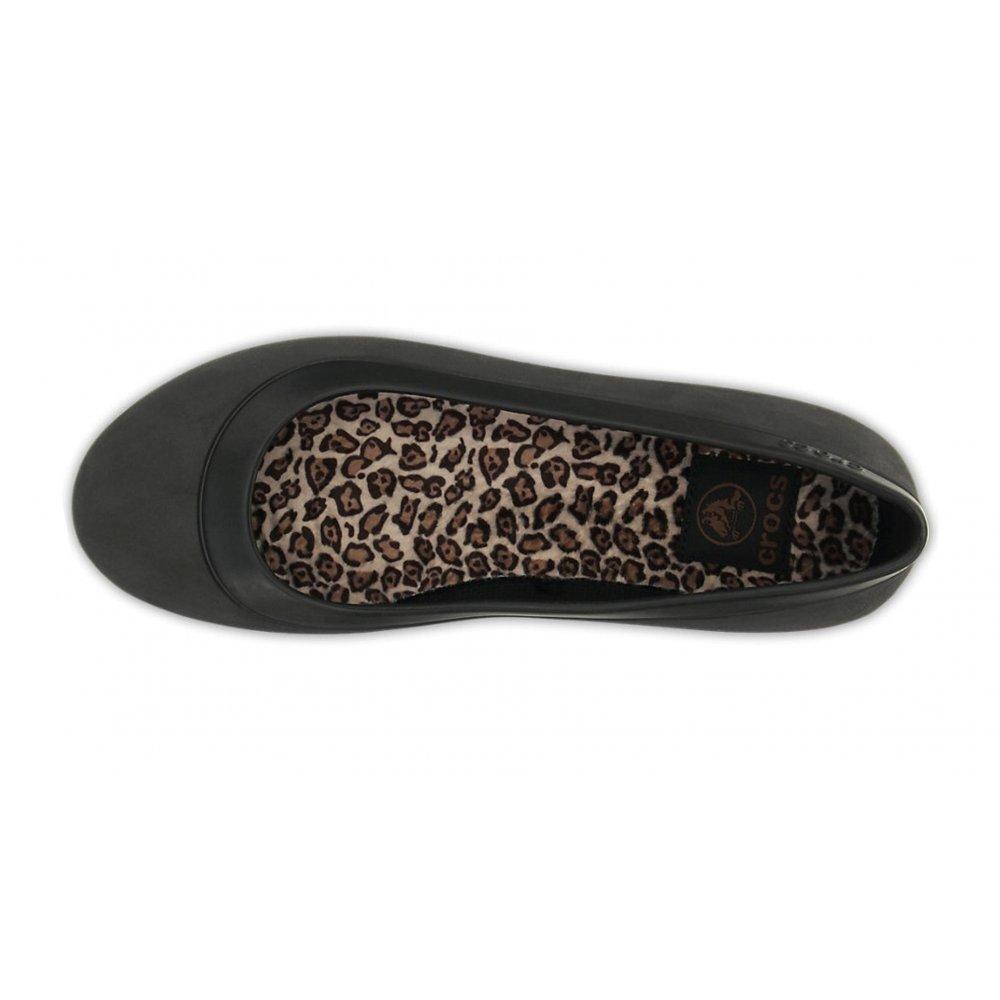 094787887545c ... Crocs Mammoth Leopard Lined Black   Black (UX7) Womens Flat Shoes ...