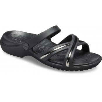 Crocs Meleen Metal Block Cross Band Gunmetal / Black (UX7) 205571-0FG Ladies Sandal