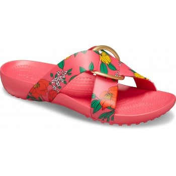 Crocs Serena Printed Cross-Band Floral / Poppy (UX4) Womens Slide