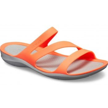 Crocs Swiftwater Bright Coral / Lt Grey (U2) 203998-6PK Womens Sandals