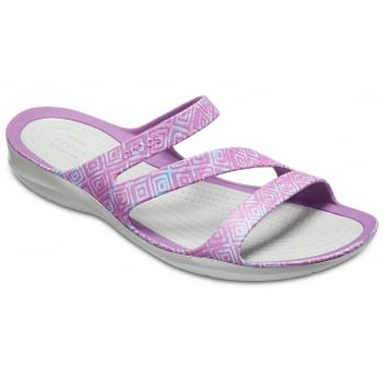 Crocs Swiftwater Graphic Amethyst Diamond / Light Grey (Z27) 204461-55O Womens Sandals