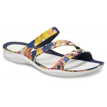 Crocs Swiftwater Tiedye Mania Navy / Almost White (Z3) 206473-4KO Womens Sandals