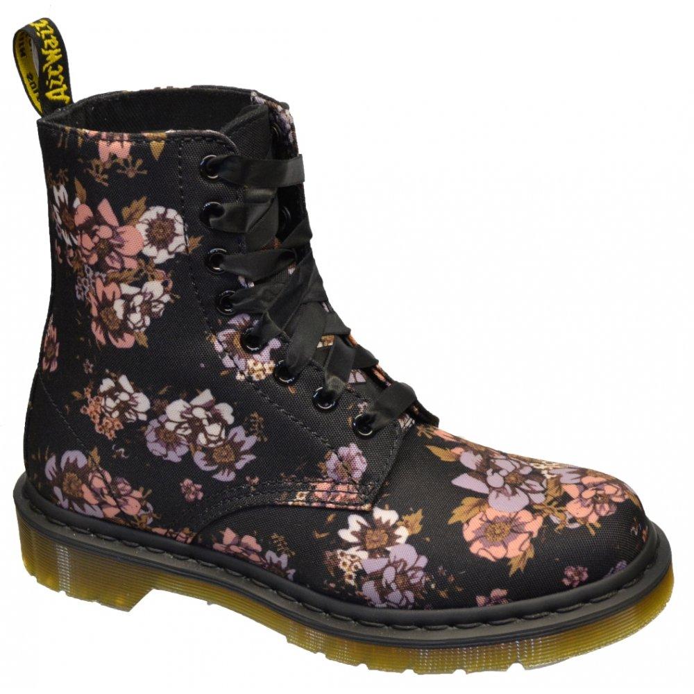 dr martens dr martens 8 eyelet beckett black wild rose canvas f9 womens boots dr martens. Black Bedroom Furniture Sets. Home Design Ideas