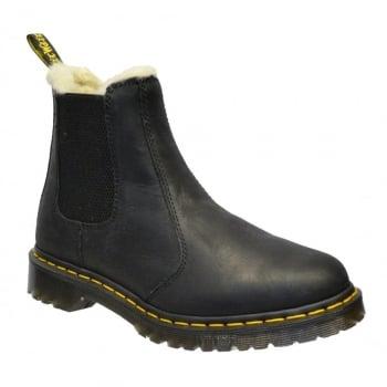 Dr Martens Leonore Faux Fur Lined Chelsea Black (Z4) 21045001 Ladies Boots