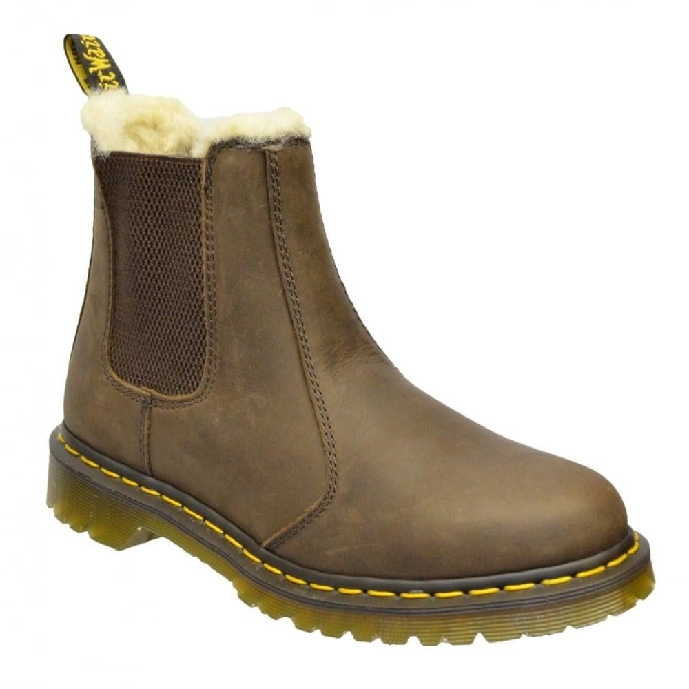 dr martens dr martens leonore faux fur lined chelsea dark brown z9 21069201 ladies boots dr. Black Bedroom Furniture Sets. Home Design Ideas