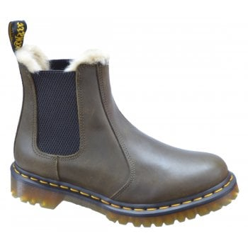 Dr Martens Leonore Faux Fur Lined Chelsea Olive (OSF) 24988355 Ladies Boots