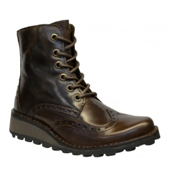 Fly London Marl Rug Dark Brown (N68) P210876001 Womens Brogue Boots