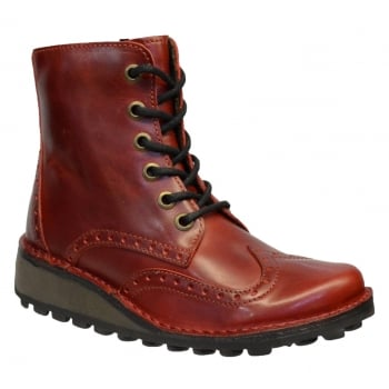 Fly London Marl Rug Red (F7) P210876003 Womens Brogue Boots