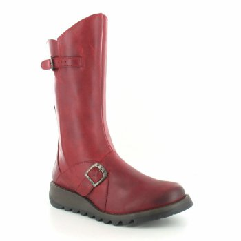 Fly London Mes 2 Burnished Leather Red (Z103) P142913001 Womens Wedge Boots