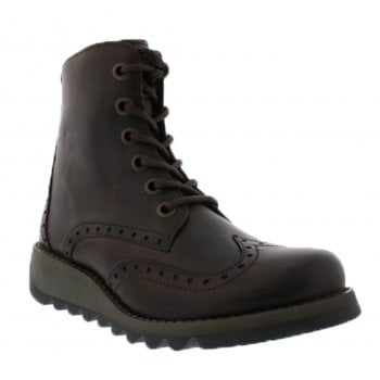 Fly London Sarl069Fly Dk Brown (N65) P144069006 Womens Brogue Boots