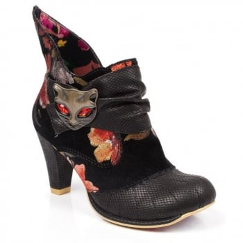Irregular Choice Miaow Black / Red Floral (B18) 3432-02AM Ladies Heels All Sizes