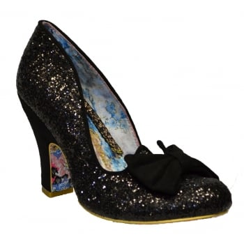 Irregular Choice Nick Of Time Black Glitter / Black Suede (K7) 4135-14AE Ladies Heels