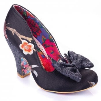 Irregular Choice Nick Of Time Black / Red Floral (A10) 4135-14BB Ladies Heels