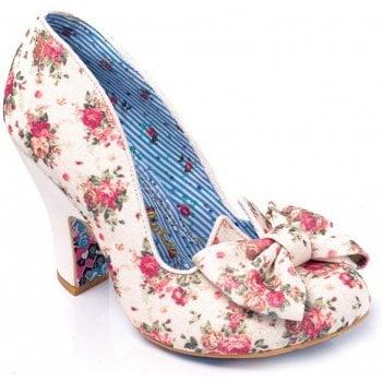 Irregular Choice Nick Of Time White Floral (E3) 4135-14BI Ladies Heels
