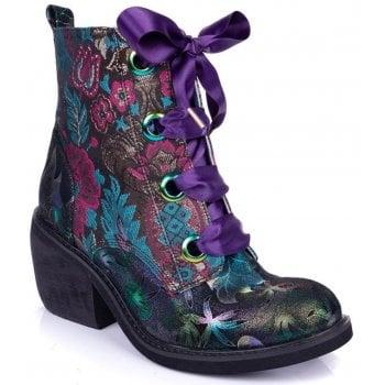 Irregular Choice Quick Getaway (N14) Black / Pink / Teal 4349-02N Ladies Boots