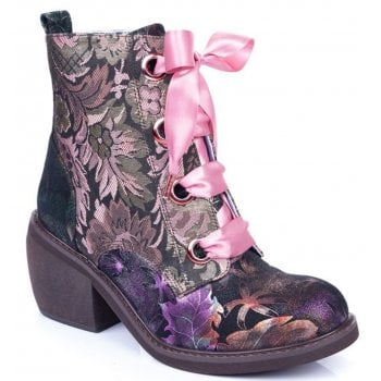 Irregular Choice Quick Getaway (N61) Black /Gold / Pink 4349-02O Ladies Boots