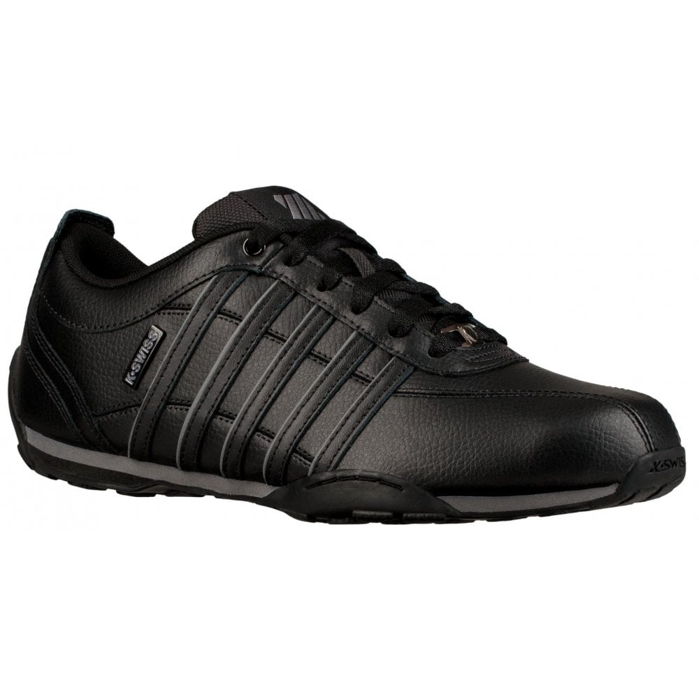 Black Grey Mens Leather Trainers K