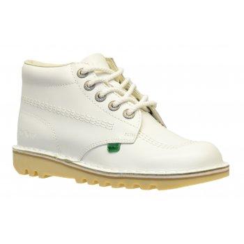 Kickers Kick Hi Ladies Leather White Boots (B12) KF0000120-WE2
