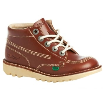 Kickers Kick Hi Youth Core Leather Dk Tan (A5) 1-12650 Boots