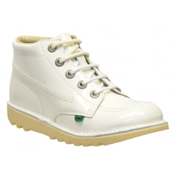 Kickers Kick Hi Youth Core Patent White (N37) 1-12221 Boots