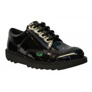 Kickers Kick Lo  Core JF Junior Girls Patent Black (Z2) 1-13498 School Shoes