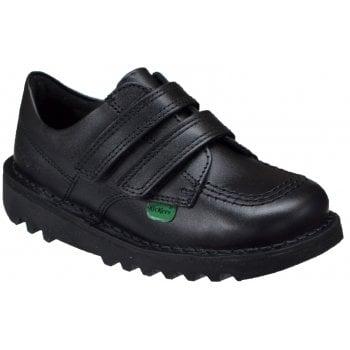 Kickers Kick Lo Twin Strap (E4) 1-KF0000435BTW Black Junior School Shoes