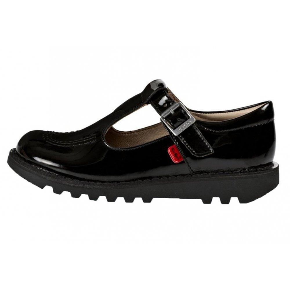Kickers Kickers Kick JF Junior Girls T Patent Black (Z14) 1-12532 School Shoes ...