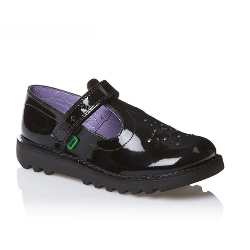Kickers Kickers Youths Girls T Star Patent Black (SC-A1) 1-12843 School Shoes ...